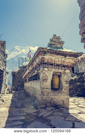Buddhist praying wheels - Annapurna region.