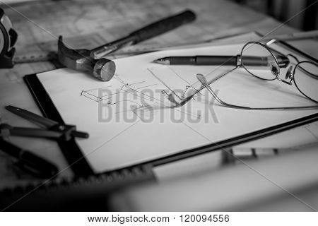 Blueprints, Hardhat, Glasses, Stickers, Construction Level, Pen In Architecture Office Retro Style