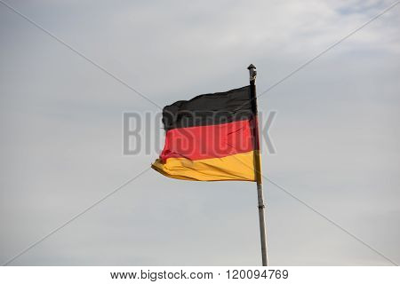 German Flags In Front Of The Sky
