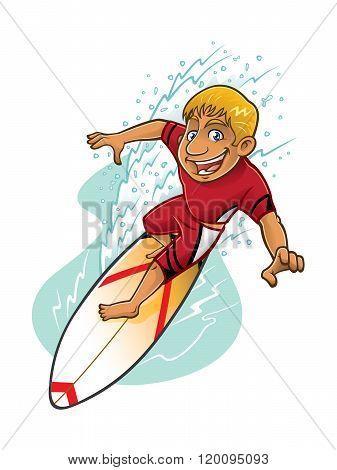 Cartoon Surfer Action