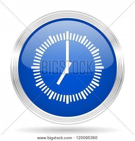 time blue silver metallic chrome web circle glossy icon