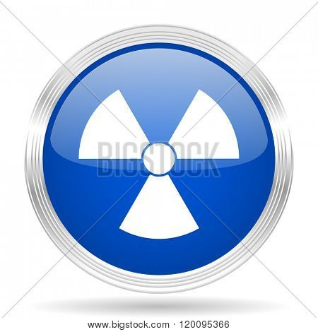 radiation blue silver metallic chrome web circle glossy icon