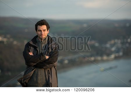 Young Man In Front River