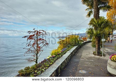 Embankment Montreux and Lake Geneva, Switzerland