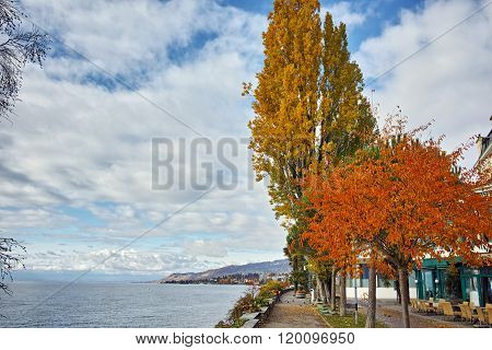 Panorama of Embankment of Montreux and Lake Geneva, canton of Vaud, Switzerland