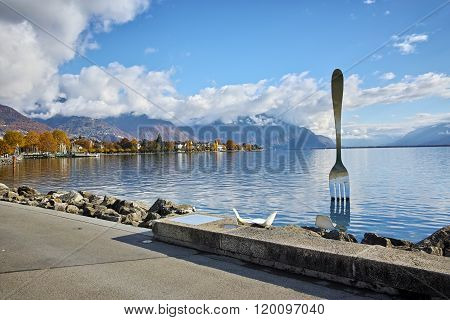 Panorama of Lake Geneva from town of Vevey, canton of Vaud, Switzerland