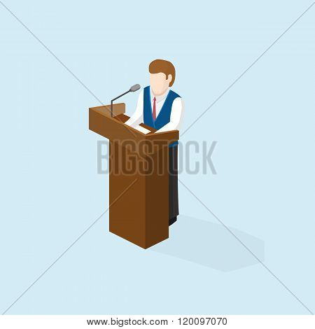 Business man public speaker staying in the pulpit