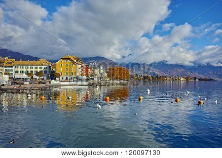 Panoramic view of town of Vevey and Lake Geneva, canton of Vaud, Switzerland
