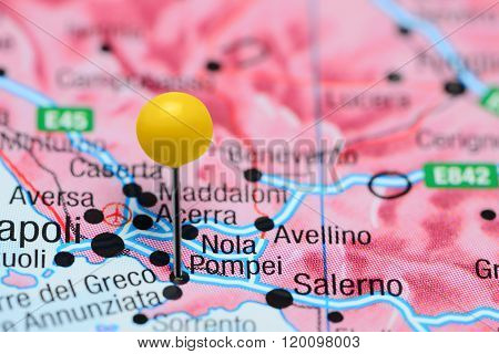Pompei pinned on a map of Italy