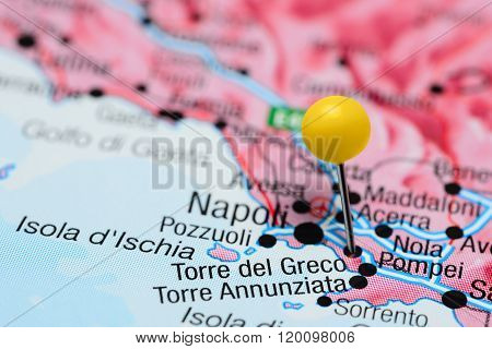 Torre del Greco pinned on a map of Italy
