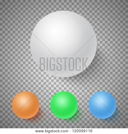 Photorealistic Vector 3D Ball Set Template. Bright Colors Vector