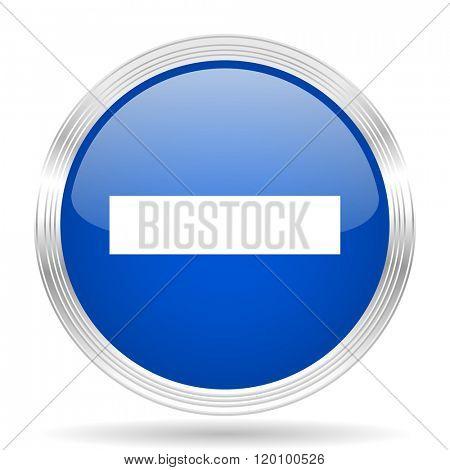 minus blue silver metallic chrome web circle glossy icon