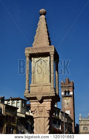 Medieval Shrine With Saint Zeno, Patron And Bishop Of Verona