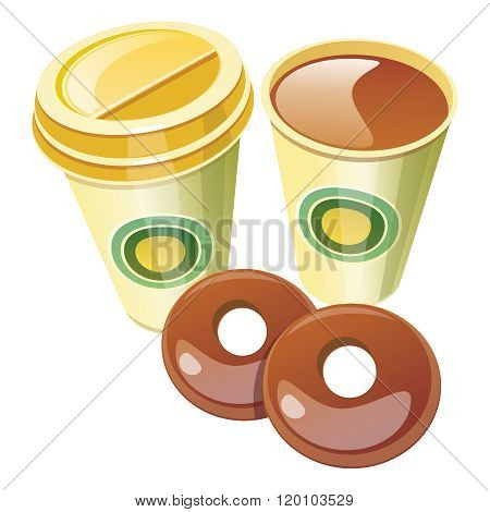 Vector Realistic Takeaway Coffee Cup with Chocolate Donuts Illustration