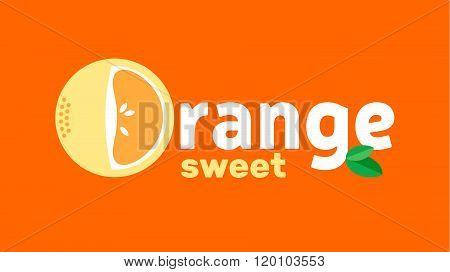 Orange Logo Design Concept At A Orange Background. Fruit Creative Symbol Template. Fresh Organic Fru