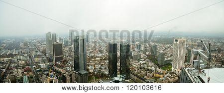 City Frankfurt skyline in fog