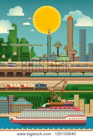 Modern city by the river. Vector illustration.