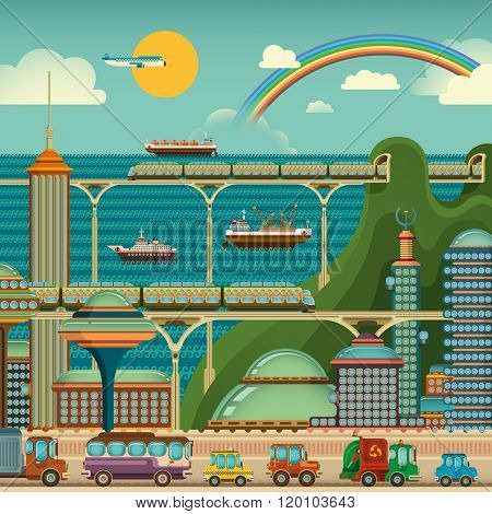 Large modern city by the sea. Vector illustration.