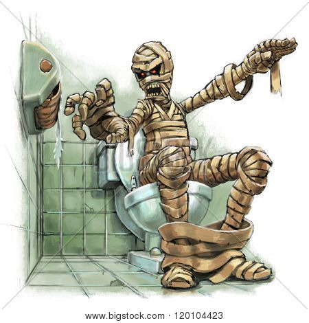 Cartoon Illustration Of A Mummy Out Of Toilet Paper