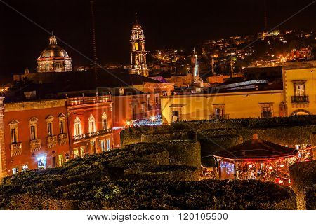 Jardin Town Square Night Stars Christmas Decorations Churches San Miguel de Allende Mexico.