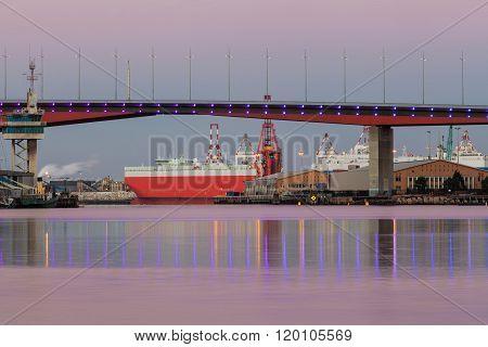 Bolge Bridge And Large Cargo Ship
