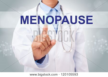 Doctor hand touching MENOPAUSE sign on virtual screen.