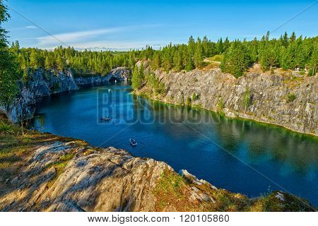Ruskeala National Park, Marble Canyon in Northern Region of Karelia in Russia