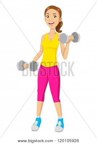 Cartoon illustration of a woman exercising with dumbbells