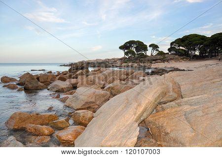 Shelley Cove: Orange Granite Formations