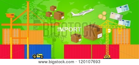 imports trading transportation logistic harbor containers plane and crane money package box world tr