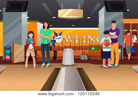 Family Playing Bowling