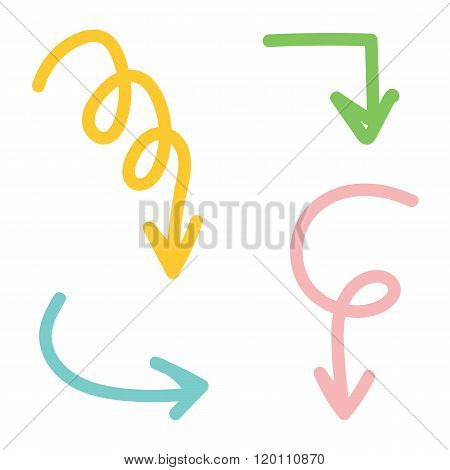 Set of colorful hand drawn arrows isolated on white background.