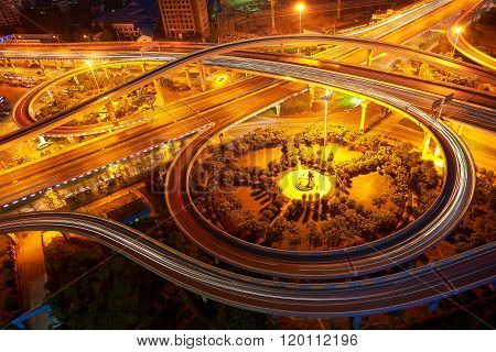 Aerial View Of City Viaduct Road Night Scene