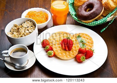 Homemade Waffles With Fruit