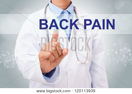 Doctor hand touching back pain sign on virtual screen.
