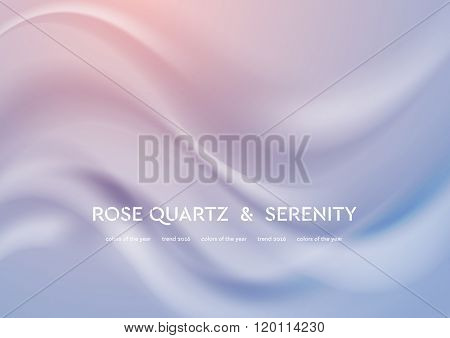 Abstract elegant vector illustration with smooth waves. Trend colors of the year 2016 rose quartz and serenity. Modern curves background