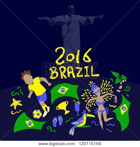 Brazil Flag With 2016 Text