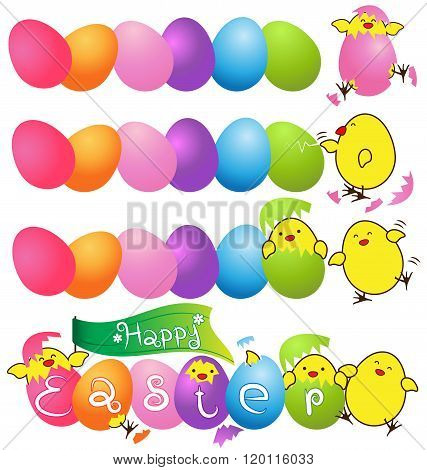 Colorful Eggs With  Funny Baby Chicken For Easter Day Card