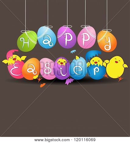 Colorful Eggs With  Funny Baby Chicken On Gray Background For Easter Day Card
