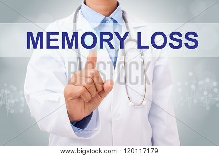 Doctor hand touching memory loss sign on virtual screen. medical concept