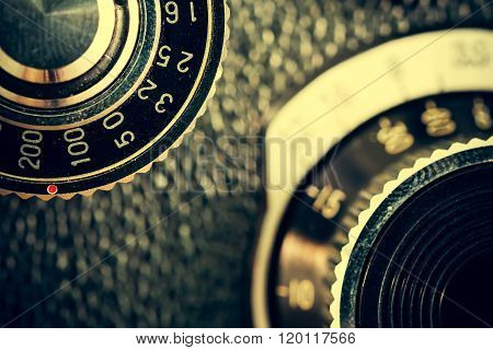 Closeup Of Apart Of Old Film Cameras With Free Copy Space, Vintage Background.