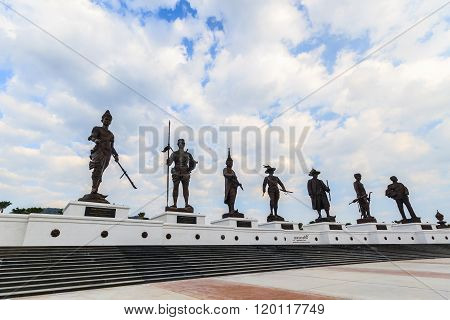 Ratchapak Park And The Statues Of Seven Former Thai King.