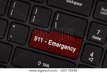 Red Enter Button Written Emergency