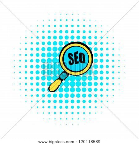 Magnifying glass with text SEO icon, comics style