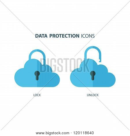 Data protection icons. Cloud computing and protecting data concept. Secure cloud technology.