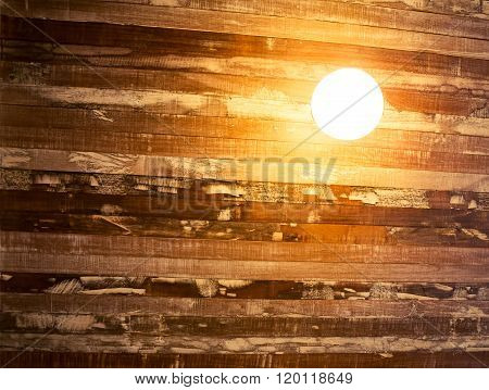 Vintage Incandescent On Wooden Wall.