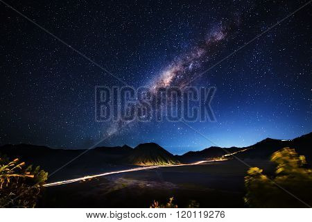 Milky way across Mt.Bromo, East Java, Indonesia