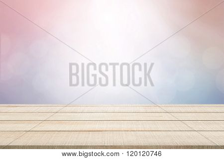 Wood Table Top Panel On Pastel Background