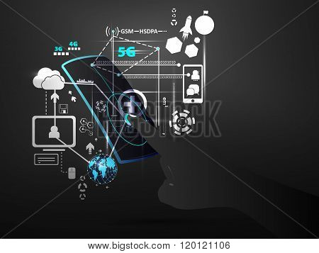 Digital technology hand touch screen interface concept