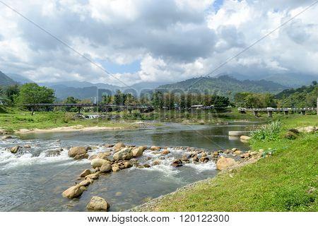 the mountains and river at Kiriwong village Nakorn Sri Thammarat. Thailand.